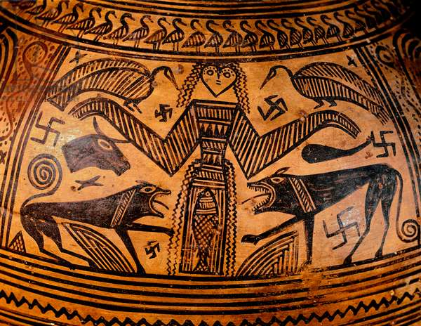 """Greek Art: """""""" Mother Goddess, Mother of All Deities"""""""""""" It is surrounded by svastikas (which will inspire the Nazi Gammee Cross). Detail of a ceramic vase. Athenes, National Archaeological Museum - Greek art: the primal Greek mother goddess, mother of all the deities. She is surrounded by swastikas. Detail of a ceramic vase. National Archaeological Museum, Athens, Greece"""