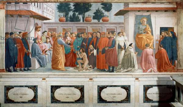 Resurrection of the son of Theophile and Saint Peter on the trone (Resurrezione del figlio di Teofilo e San Pietro in cattedra), by Masaccio and Filipino Lippi, 1427-1485, 15th Century, fresco, 230 x 599 cm - Italy, Florence, Church of Santa Maria del Carmine, Brancacci Chapel Whole artwork view Fresco set in the inferior part of the left wall, depicting two episodes of the life of Saint Peter; on the left, a group of people crowds around a naked boy, who kneels down upon his own shroud, upon bones and skulls; the young man, come back from the death, holds out his arms towards Saint Peter, recognizable for his beard and white, short hair; the Saint, who wears an orange mantle, is faced backwards, holding out his hand in order to invoke a blessing; next to him can be recognized Saint Paul, who prays kneeling down, his gaze towards the sky; among the onlookers there is a child with long blond hair who looks down and hugs to an adult, and the governor of Antiochia, Teophilus, sitting in a niche; on the right, the scene is centred around Saint Peter on the pulpit, in an upper position, surrounded by various male characters, some standing up, others kneeling down; among the onlookers can be distinguished some theologians, like the two Carmelites who stand up on the left