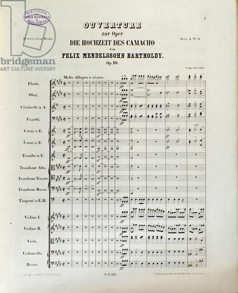 """Score of """"Die Hochzeit des Camacho"""" by Felix Mendelssohn (litho)"""