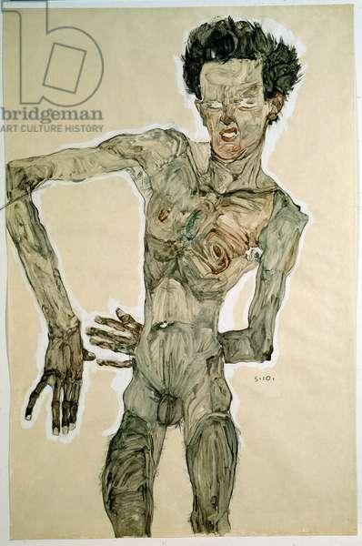 Male Nude (Self Portrait). Drawing by Egon Schiele (1890-1918), 1910. Pencil, watercolor and tempera on paper. Dim: 55,7x36,8cm. Vienna, Graphische Sammlung Albertina