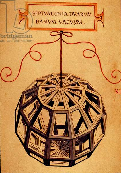 "Geometry: """" A Polyhedron"""" Page taken from the manuscript """" De divina proportione"""" (On divine proportions) by mathematician Fra Luca Pacioli dit Luca di Borgo (1445-1517) illustrated by Leonardo da Vinci (1452-1519).1509."