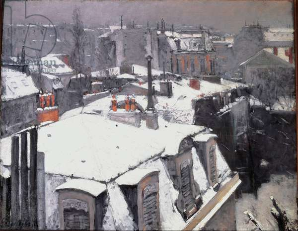 Vue des roofs (effet de neige) a Paris Painting by Gustave Caillebotte (1848-1894) 1878 Sun. 0,64x0,82 m Paris, musee d'Orsay - View of Roofs (with snow) in Paris. Painting by Gustave Caillebotte (1848-1894), 1878. 0.64 x 0.82 m. Orsay Museum, Paris