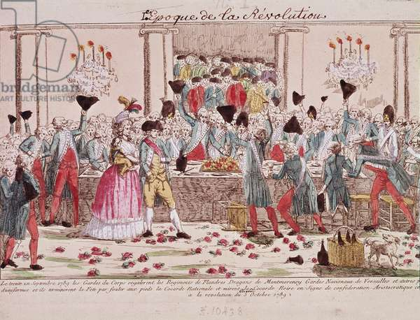 French Revolution: Banquet of the bodyguards in Versailles on 1 October 1789 to celebrate the arrival of the regiment of Flanders to give protection to the royal family, the participants tread at their feet the tricolor cockade in front of Louis XVI, Marie Antoinette and the dolphin - (French Revolution: Banquet given on October 1st 1789 at the Versailles Opera House by the King's bodyguards to welcome the arrival of the Flanders Regiment to help in support of and protection of the French royal family) 18th century Paris, musee carnavalet