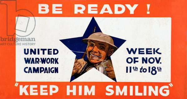 World War I: United War work campaign poster representing a smiling American soldier with food and drink, aimed at raising awareness and collecting money, 1918 - WWI: poster of the United War-Work campaign exhorting people to give money to keep the american soldiers smiling - Private collection