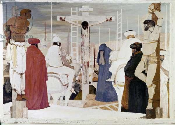 Crucifixion Painting by Salvatore Fiume (20th century) 1975 Palazzi Vaticani, Studio Latino di Papa Sisto IV Rome