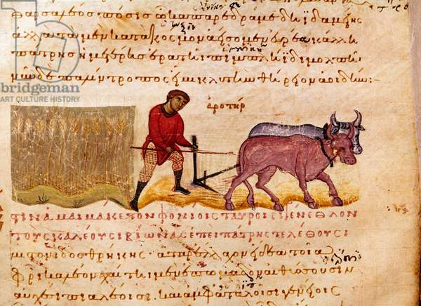 """Agriculture: plowing scene. Miniature from the hunting trade """""""" The Cynegetics"""""""" by Oppian (Oppian or Oppianus) from Syria (3rd century AD) dedicated to Caracalla. 11th century Venice. Biblioteca Marciana"""