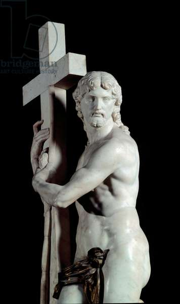 Christ redeemer with the cross Detail Marble sculpture made by Michelangelo Buonarroti dit Michelangelo (Michelangelo or Michelangelo, 1475-1564), 1519-1520 Dim 2 m Rome, church Santa Maria sopra Minerva