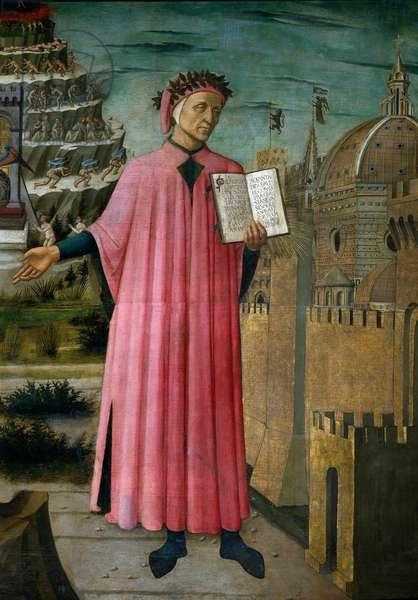 The Italian poet Dante Alighieri presents his work the Divine Comedy. Detail, 15th century (Fresco)