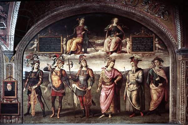 Strength and temperance with six ancient heros On the left self-portrait of the artist in trompe-l'oeil, then from left to right, Lucius Licinius Crassus (140-91 BC), Leonidas I of Sparta (540-480 BC), King of Lacede, Publius Cornelius Scipion (255-211 BC), Pericles (around 495-449 BC), Cius Quinctius Cincinnatus (ca. 519- around 430 BC) '' (fortitude and temperance over six heroes antique, self-portrait and from left to right, Lucius Licinius Crassus, Leonidas I, Horatius Cocles, Scipio Africanus, Pericles and Cincinnatus) Fresco by Pietro Vannucci dit il Perugino (Le Perugin, 1446 - 1523) 1497 approx. Dim 291x400 cm Perugia, Collegio Cambio