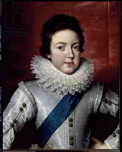 Portrait of Louis XIII, King of France and Navarre (1601-1643) young man He has a strawberry neckline in lace. Painting by Frans Pourbus Le Jeune (Francois (Franz) Porbus, 1569-1622) 1616 around Florence, Galleria Palatina