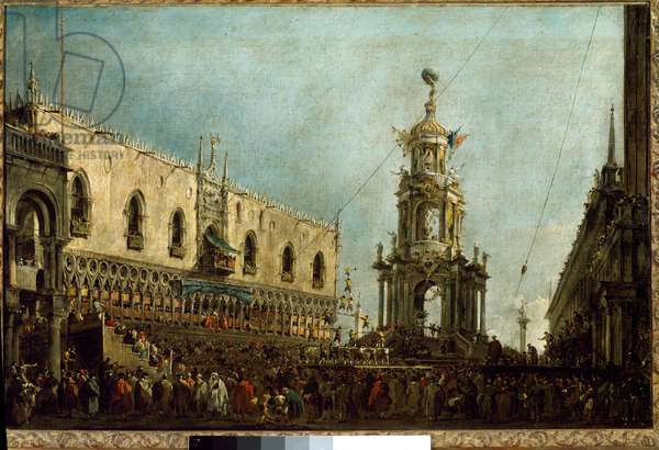The Doge of Venice attends the Gras Thursday celebrations on Piazzetta di San Marco Doge Alvise IV Mocenigo (1701-1778) attends acrobatic performances from the balcony of the Doge's Palace. Painting by Francesco Guardi (1712-1793) 1766-1770 Sun. 0,67x1 m Paris, Musee du Louvre.