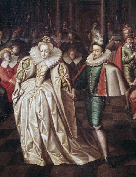 The married couple,  Duc de Joyeuse and Margaret of Lorraine, detail of ball given on September 24, 1581, at the court of Henry III (painting, end of the 16th century)