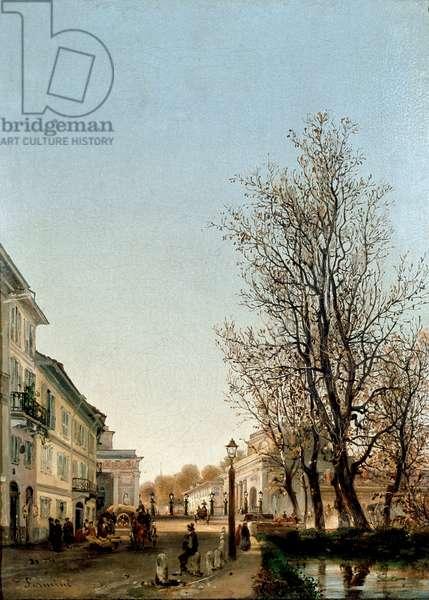 View of Porta Venezia area, Milan (painting, c.1850)
