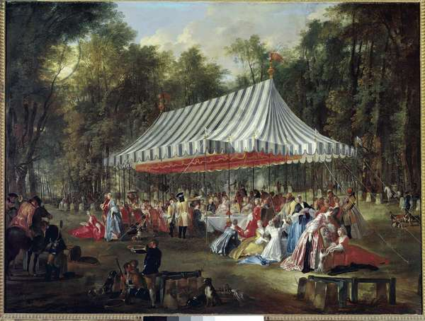 Banquet in the park.(oil on canvas, 1766)