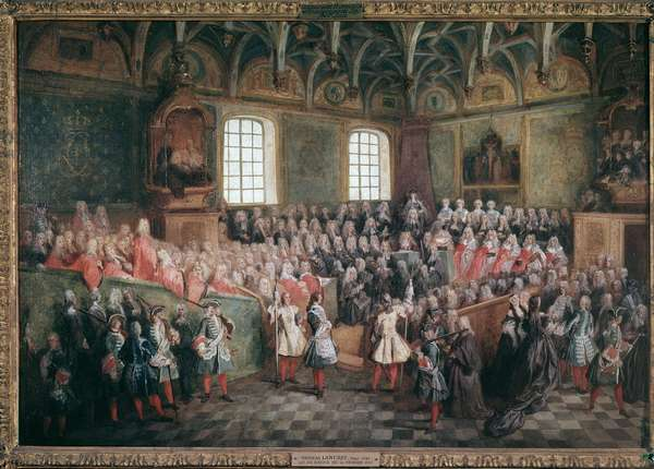 Bed of justice held by the majority of King Louis XV in the Grand Chamber of the Parliament of Paris on February 22, 1723 (oil on canvas, c.1723)