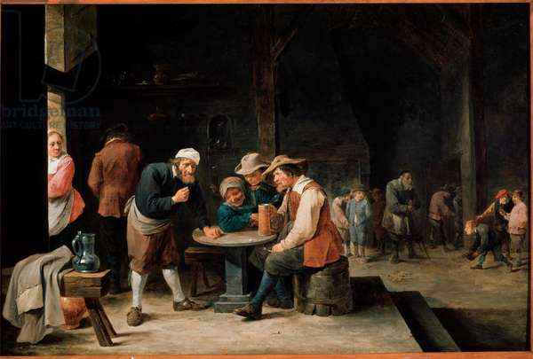 Beer drinkers. Painting by David Teniers II, the young (1610-1690). Oil on canvas, 17th century, Flemish school. Galleria Sabauda, Turin.