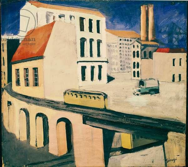 Urban Landscape Painting by Mario Sironi (1855-1961) 1924 Dim. 34 x 50 cm Venice, Ca Pesaro, Galleria Internazionale d'Arte Moderna