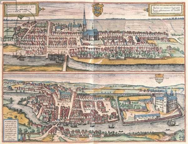 Husum, Germany, illustration from 'Civitates Orbis Terrarum' (coloured engraving)
