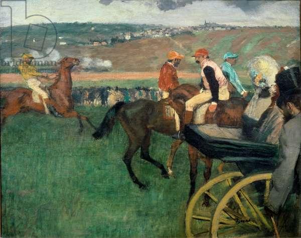 The Race Course, Amateur Jockeys near a Carriage, 1876-87 (oil on canvas)
