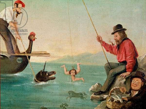 "Risorgimento: the patriot Giuseppe Garibaldi (1807-1882) fished the ""Trinacria"" (Sicily), Napoleon III drew the Unicorn (England) and Cavour satisfied with the small fish. Anonymous cartoon, painting. Turin, Museo del Risorgimento"