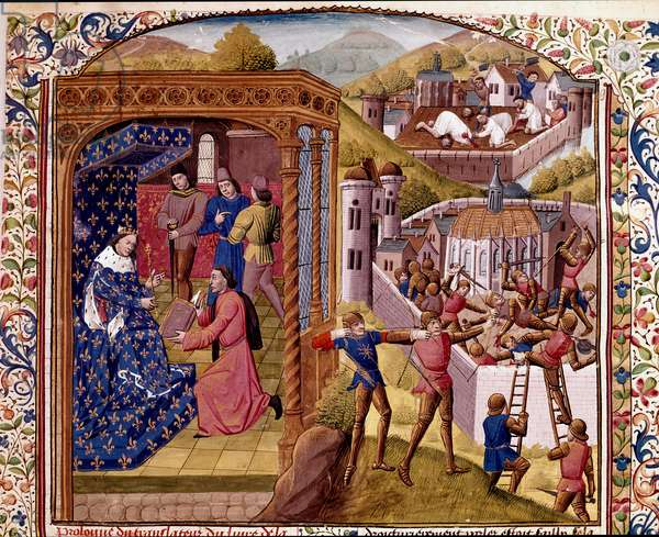 """On the left Leonardo d'Arezzo offers his book to King Charles VIII of France, on the right the Romans conquish Reggio Miniature from """""""" Roman History"""""""" (Ad urbe condita) by Titus Live (59 BC-17 AD) (Titus Livius), translated by Pierre Bressuire (ms. 310) 1450-1500 Chantilly, Musee Conde"""