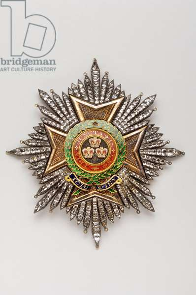 United Kingdom - Order of the Bath: plaque of knight of grand cross, military division, belonging to General Sir Henry Clinton (1738-1795) - Early 19th century - Gold and crystal and enamels - H 11.7 cm; W 10.8 cm; Weight: 108 g - Private collection