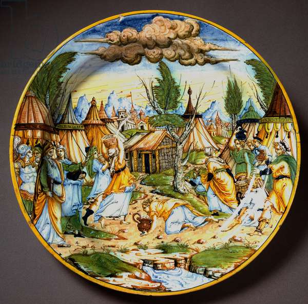 Jews in the desert (or the recuperation of manna). God feeds Israelites who would starve from quail eggs and manna (Manna). Ceramic plate produced in Urbino in the workshop Fontana, Italy. 1560 around Florence, Museo Nazionale del Bargello