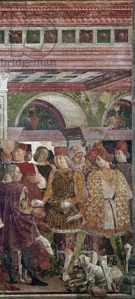 Allegory of April, detail with Borso d'Este rewarding Scocola (1413-1471) detail - fresco by Francesco del Cossa (around 1436-around 1478) Ferrara (Ferrara) Palazzo Schifanoia, Salone dei Mesi