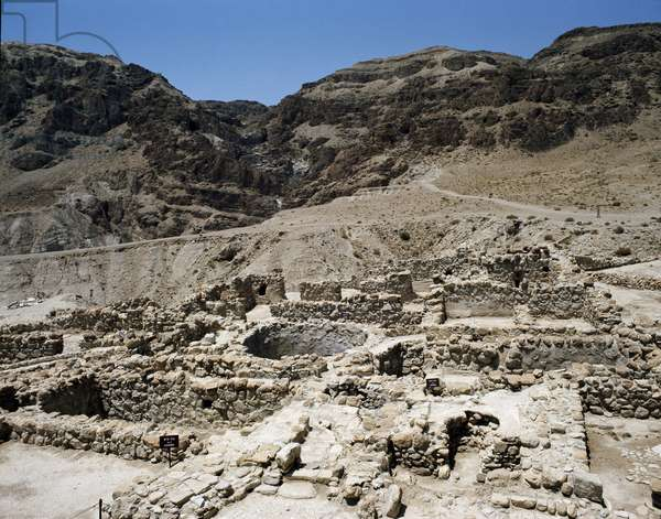 View of the Caves of Qumran (Quamran, Kumran or Qumran) on the Dead Sea in Palestine - The manuscripts of the Dead Sea (View of the Caves of Qumran, in the West Bank where were found the Dead Sea Scroll, Israel)