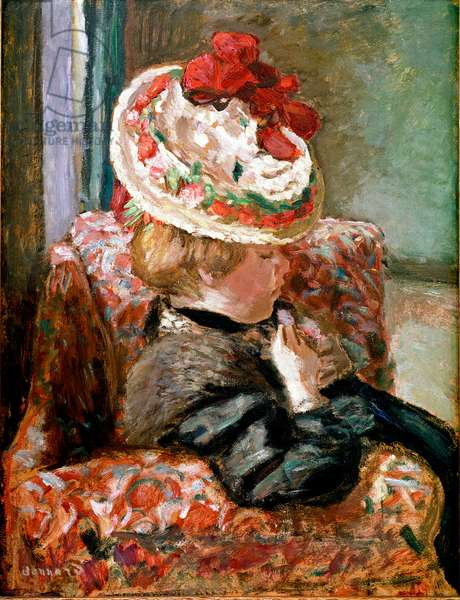 The straw hat Woman sitting on a flower couch. Painting by Pierre Bonnard (1867-1947) 1910 Zurich, Collection Robert Hahnloser