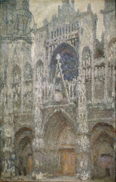 Cathedrale de Rouen, the portal, grey time, grey harmony - Painting by Claude Monet (1840-1926), 1894 - French Impressionism - Oil On canvas - Musee d'Orsay