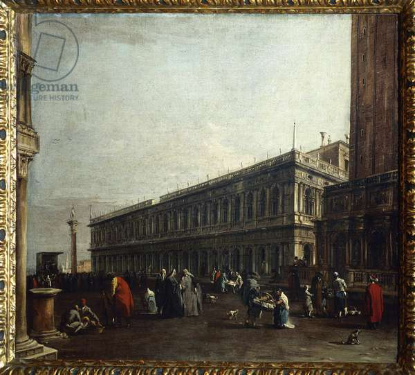 View of the Piazzetta (part of piazza San Marco) and the bookeria Marciana (library) in Venice Painting by Francesco Guardi (1712-1793), 18th century. Dim. 73x80,5 cm Vienna, Akademie der bildenden Kunste