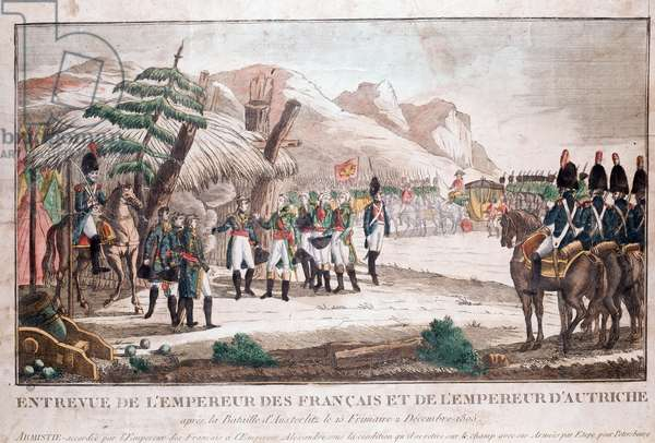 Interview of Emperor Napoleon I (1769-1821) after the Battle of Austerlitz (02/12/1805) with Emperor Francois II (1768-1835) of Austria on 04/12/1805 at Sarutschitz in Moravia (Meeting of two emperors after Battle of Austerlitz, 4 December 1805 (Napoleon Bonaparte, 1769-1821 Emperor of France and Francis I, 1768-1835 Emperor of Austria (Francis II, Holy Roman Emperor) Engraving of the 19th century Paris musee Carnavalet