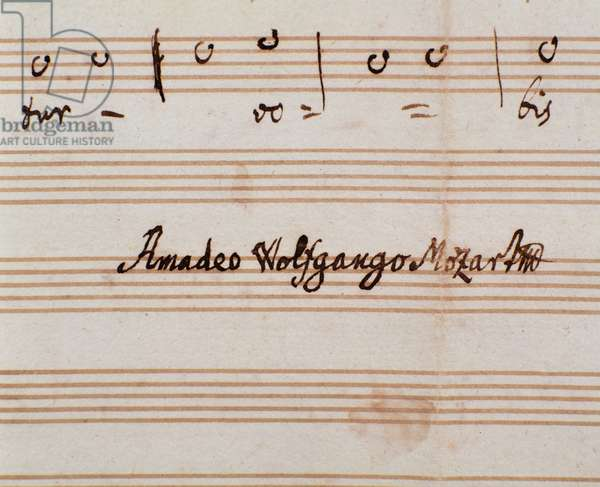 Detail of the composer's signature of the sheet music page of Querite primum regnum Dei  by Mozart to obtain the title of Accademico filarmonico (1770)