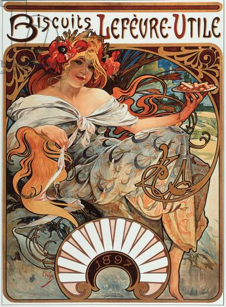 "Advertising poster by Alphonse Mucha (1860-1939) for the Biscuits """" Lefevre-Utile"""", 1897 - Advertising poster by Alphonse Mucha for Lefevre Utile Biscuits, 1897 Dim 44x61 cm - Private collection"