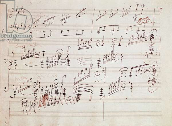 """Sheet music for the """""""" Sonata pour piano n* 14 en do diese minor"""" """""""" Sonata au clair de lune"""" by German composer Ludwig van Beethoven (1770-1827) composed in 1801. House, Natale de Beethoven, Bonn. Germany"""