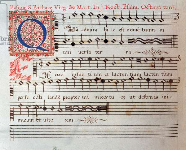 Sheet music page of a sacred work by Giovanni Giacomo Gastoldi, 16th century