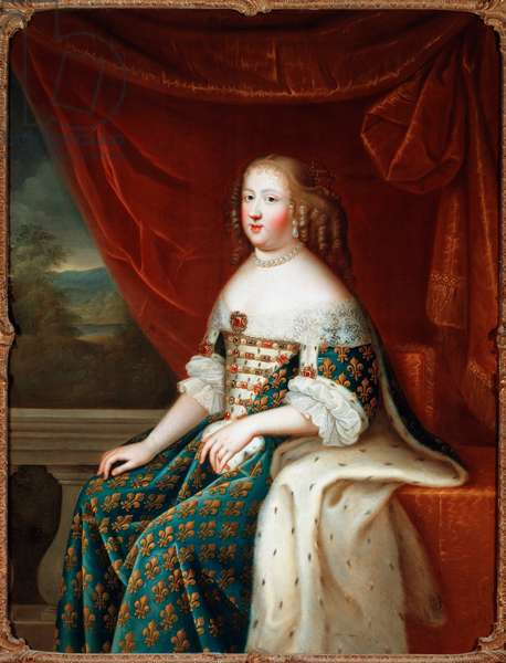 Portrait en pied de Marie Therese d'Austria (1638-1683), queen of France Painting de l'atelier de Charles Beaubrun (1604-1692) 17th century Florence, Galleria Palatina. - Portrait of Maria Theresa of Spain (1638-1683), queen of France. Painting by the studio of Charles Beaubrun (1604-1692), 17th century, Galleria Palatina, Florence, Italy