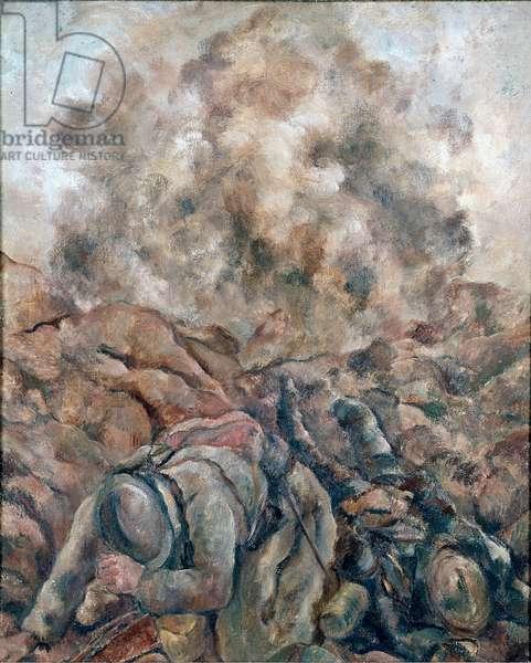 "First World War: """" Au Front """" Painting by Luc Albert Moreau (1881-1948) 1914 Paris, National Museum of Modern Art, Centre Georges Pompidou"