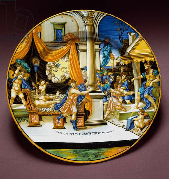 Joseph and the wife of Putiphar Joseph fleeing from the wife of Putiphar (Potiphar) seeking to seduce him. Ceramic plate produced in Urbino, Italy. 1537 around Florence, Museo Nazionale del Bargello