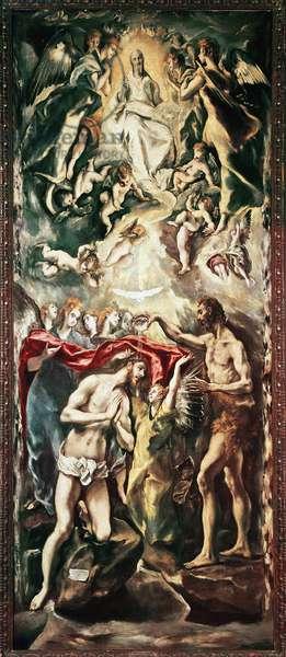 The baptism of Christ Painting by Domenikos Theotokopoulos dit El Greco (1541-1614), 1597. Madrid, Prado Museum