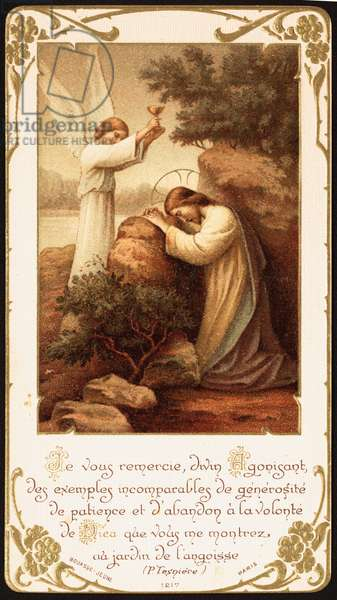 Jesus kneeling in prayer in the Garden of Gethsemane, an angel presenting him a chalice. Early 20th century (postcard)