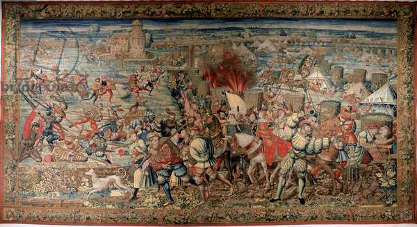 Sixth Italian War (1521-1526): representation of the Battle of Pavia (Pavia) on 24/02/1525, which saw the defeat of Francois I against Charles V. Tapestry. Naples. Museo Nazionale di Capodimonte.