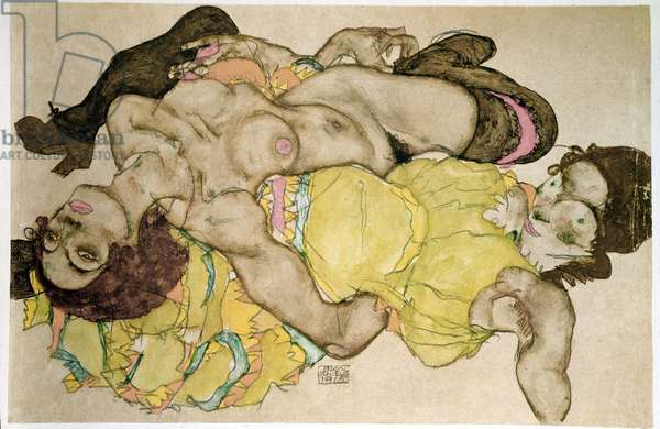 Two women long, one naked, the other clothed Pencil drawing and tempera by Egon Schiele (1890-1918) 1915 Sun. 32,8x49,7 cm Vienna, Graphische Sammlung Albertina
