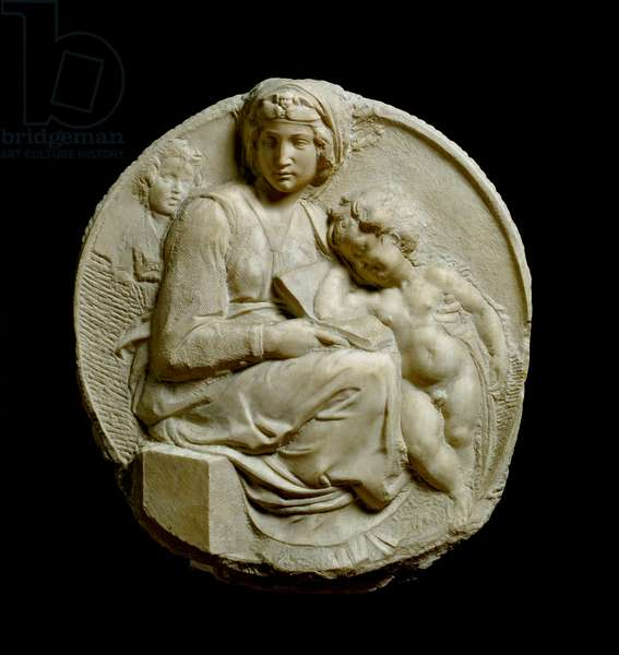 Virgin and Child with Saint John the Baptist child Madonna Pitti or Tondo Pitti. Embossed marble stockings by Michelangelo Buonarroti dit Michel Ange (Michelangelo or Michelangelo, 1475-1564) 1502 Diam. 109 cm Florence, museo nazionale del Bargello