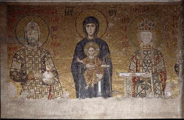 The Virgin sitting between John II Komnenos and his wife Irene of Hungary (Mosaic, 6th century)