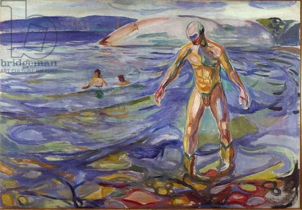 The Bather Painting by Edvard Munch (1863-1944) 1918 Sun. 138x199,5 cm Oslo, Kommunes Kunstsamlinger