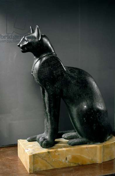 The deity cat Bastet wearing a necklace. (Bronze sculpture, c. 800-500 BC)