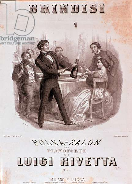 """Brindisi Partition of a Polka by Luigi Rivetta (1838-1891) representing a toast scene during a reception, a young man blows a champagne cap - Illustration of """"Brindisi"""""""""""" polka by Luigi Rivetta - Private collection"""