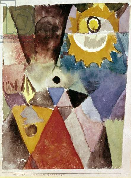 In front of the gas lamp - Watercolour by Paul Klee (1879-1940), 1915.